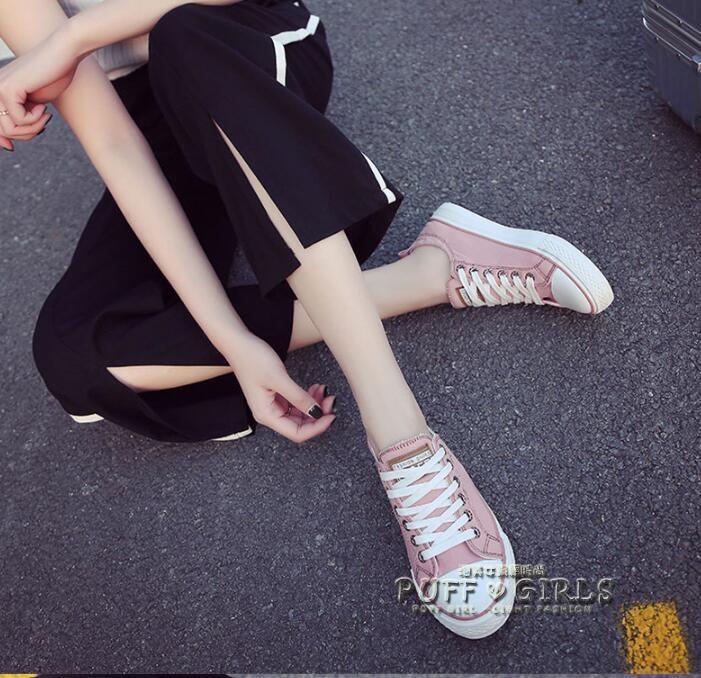 帆布鞋鞋子女夏百搭韓版學生街拍帆布鞋小白鞋女系帶休閒鞋板鞋