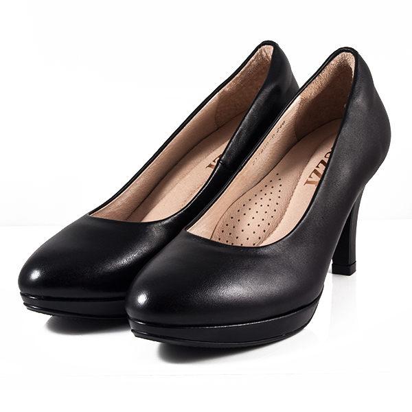 LUZZI 羊皮防水台細跟高跟鞋 黑 女款
