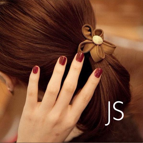 髮飾【JS精心苑】韓版拉鏈齒邊花朵髮圈髮繩 時尚金扣髮繩頭花/飾品/配件/髮飾/髮圈