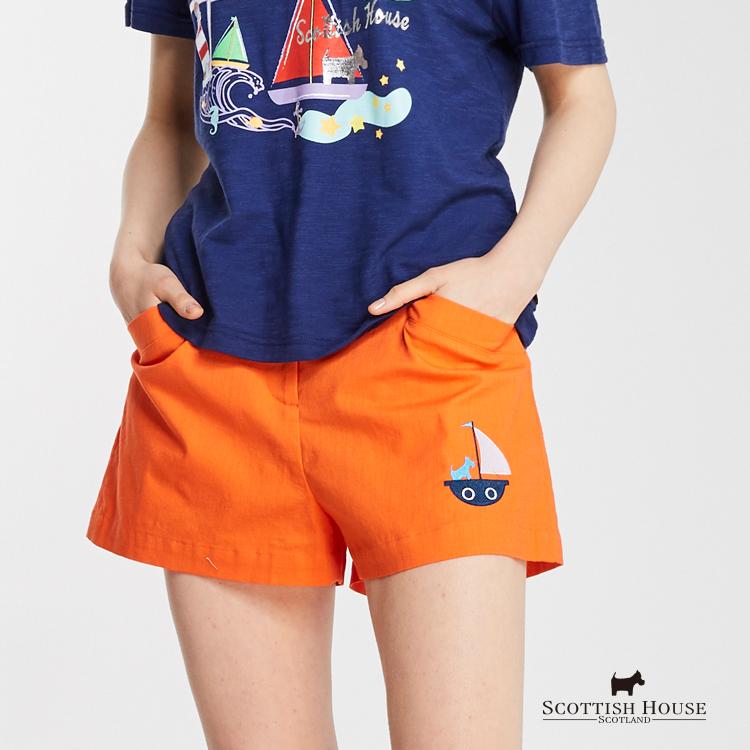 帆船電繡仿麻短褲 Scottish House【AG2271】