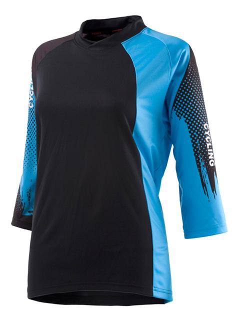 ATEMPO短袖登山車衣溪澗藍黑女款山地車服裝林道防摔衣龜甲搭配有型中袖女車衣