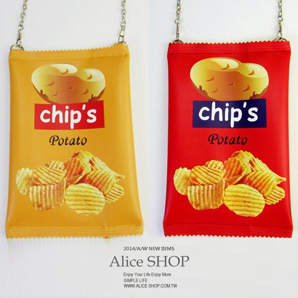 【Alice Shop 愛麗絲】學院風  吃零食了嗎? 可愛韓國洋芋片 斜背手機包 化妝包 零錢包【vp5252】現貨