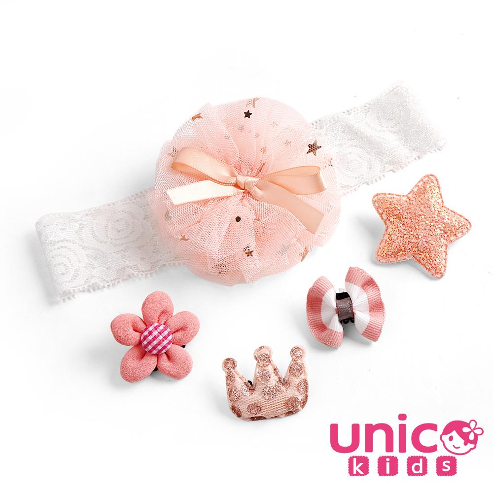 UNICO 兒童 少髮量寶寶甜美雪紡粉髮帶安全髮夾組合-5入組