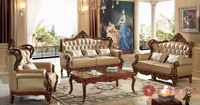 紅蘋果傢俱9828伯爵系列歐式英式古典奢華真皮沙發組皮沙發雙面雕花大理石茶几角几