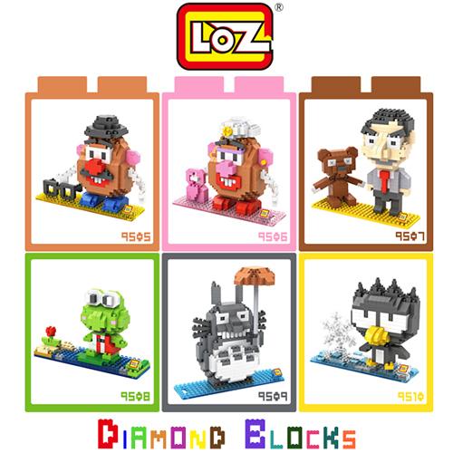 LOZ 迷你鑽石小積木 蛋頭先生 蛋頭太太 豆豆先生 大眼蛙 龍貓 酷企鵝 樂高式 組合玩具 原廠正版