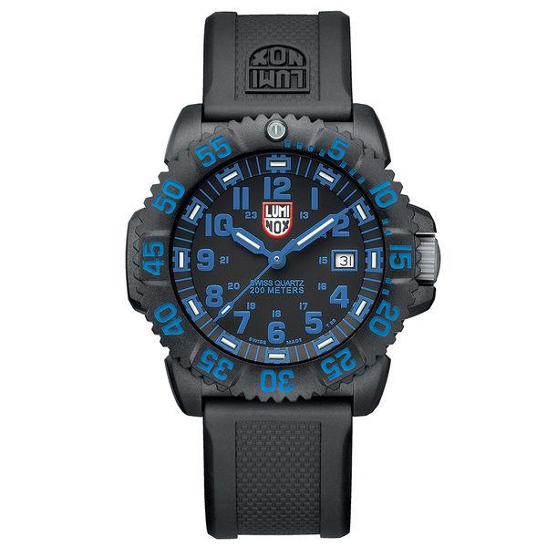 LUMINOX 雷明時 海豹部隊指標系列 經典腕錶-黑x藍時標/44mm