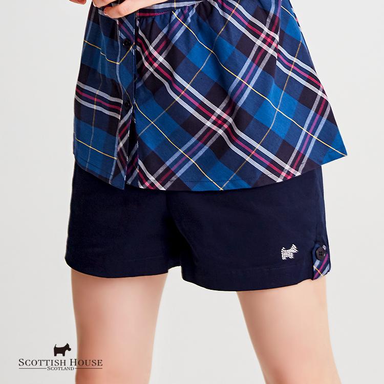 素面袋口格紋短褲 Scottish House【AH2254】
