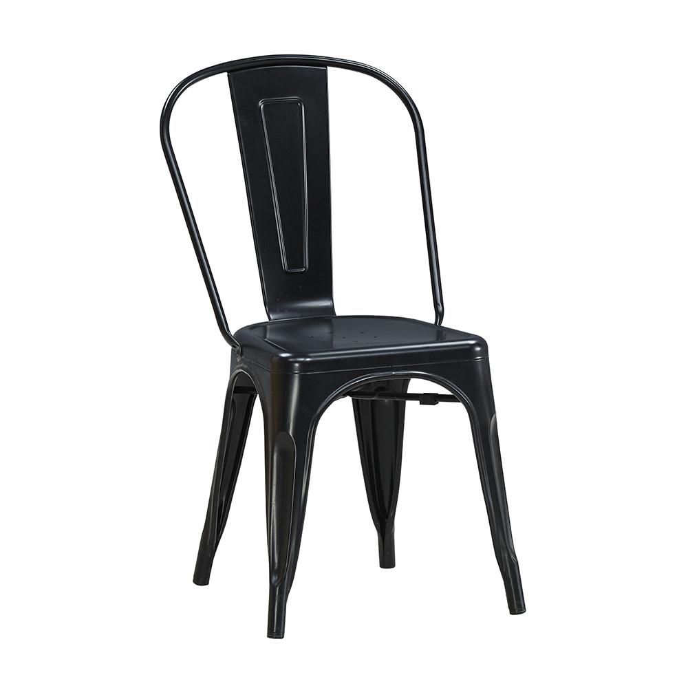 森可家居工業風鐵餐椅黑色6JX667-3美式復古餐椅子