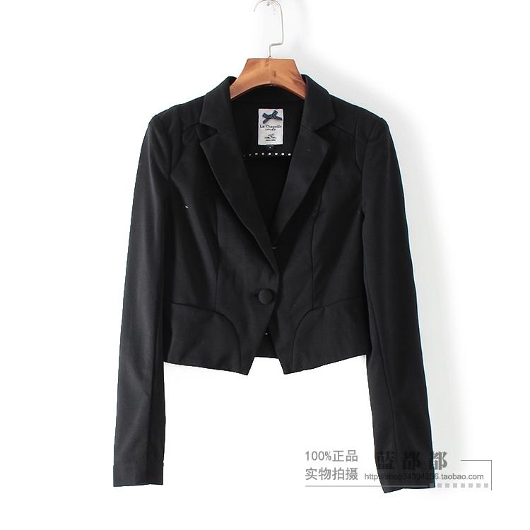 [超豐國際]拉春秋裝清倉女裝黑色簡約大氣短款西裝外套 254(1入)