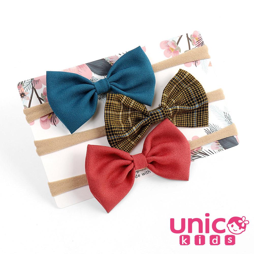 UNICO 兒童嬰兒少髮量莫蘭迪色學院風系列3入組髮帶