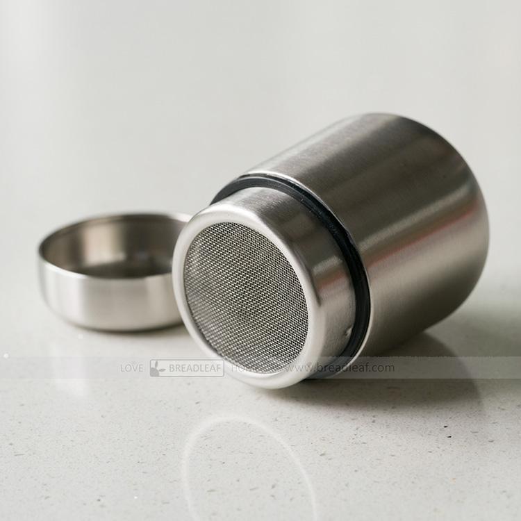 BreadLeaf 附蓋子 不鏽鋼糖粉篩【B055】可可抹茶粉篩 咖啡 烘焙用手粉篩 調味瓶 粉罐 灑粉器 麵粉篩