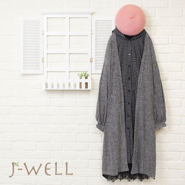 JWELL 開襟長版外套長版襯衫洋裝三件組(組合524 8J1294黑/灰+8J1338淺卡/黑格+8J1314黑)