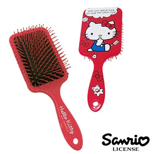 【日本進口正版】Hello Kitty 凱蒂貓 紅經典款 頭皮 按摩梳 梳子 三麗鷗 Sanrio - 019954