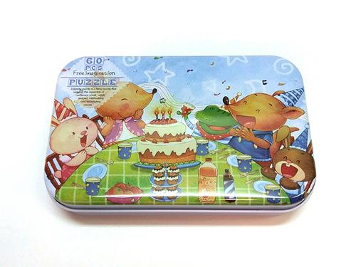 木質拼圖生日宴會鐵盒裝60片