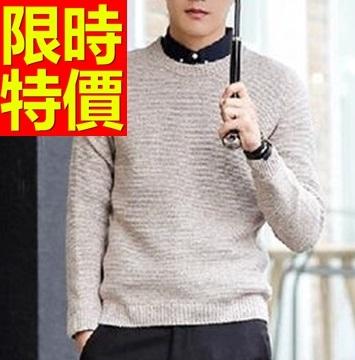 毛衣純色素面-羊毛圓領長袖男針織衫2色61l65巴黎精品