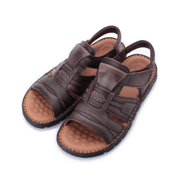 皮爾卡登 真皮擦色古銅涼鞋 古銅 男鞋 鞋全家福