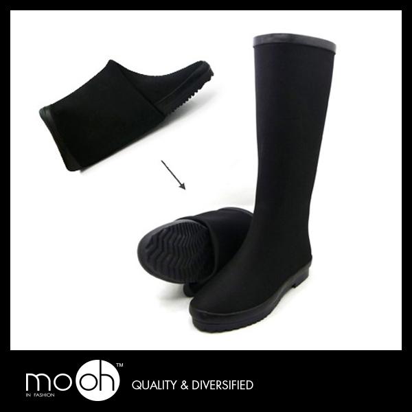 長筒雨靴獨家工藝可摺疊潛水衣布黑色輕便霧面防水雨鞋mo.oh歐美鞋款