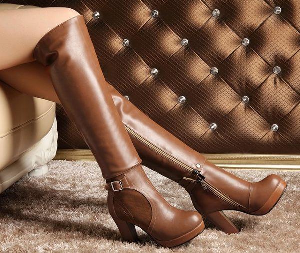 ♥ 俏魔女美人館 ♥  韓版粗跟兩穿女靴歐美復古修身瘦腿高跟厚底皮帶扣騎士長靴女靴