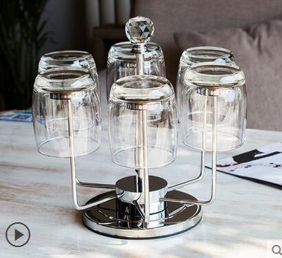 設計師美術精品館不銹鋼水杯架創意酒杯架時尚茶杯架6頭旋轉倒掛杯架杯架不包含杯子