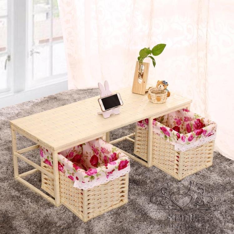 和室幾桌簡約實木日式草編藤編榻榻米茶幾桌陽臺小飄窗學習電腦桌子TW幸福家居