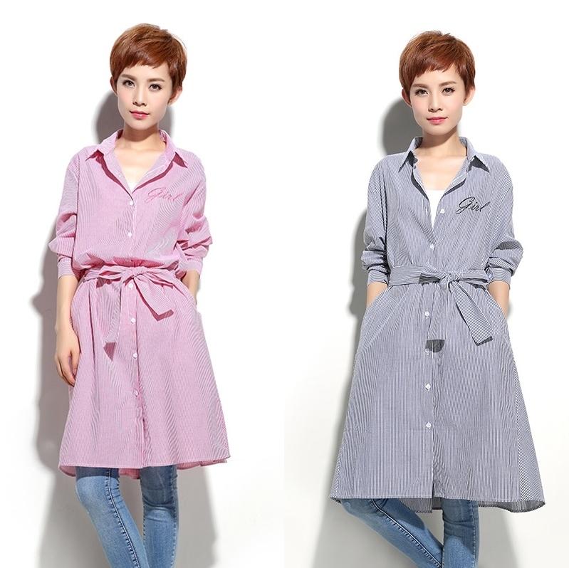 長袖襯衫洋裝 正韓原創輕薄寬鬆純棉襯衫洋裝 2色 #of1241 ❤卡樂store❤