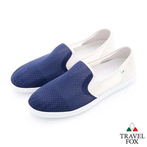 Travel Fox(男)輕快的 網紋透氣直套懶人鞋 - 藍白