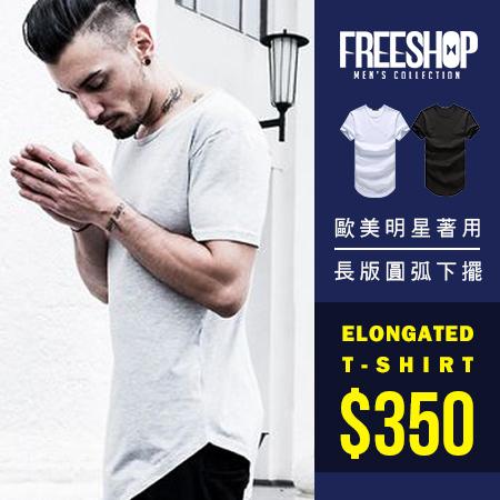 短T Free Shop QM1086美式休閒素色素面百搭下襬圓弧圓領棉質長版短T短袖上衣潮T二色