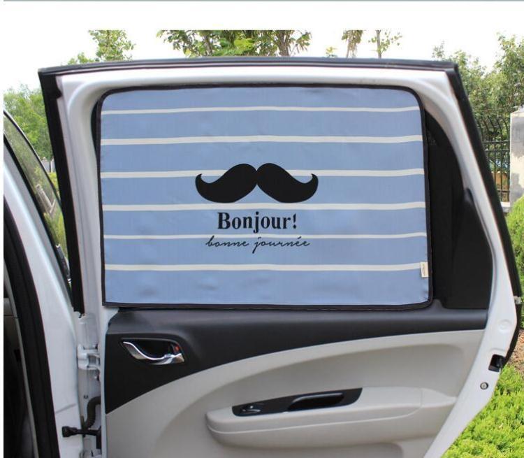汽車磁吸式遮陽窗簾卡通防曬隔熱可伸縮車用窗簾磁性車側窗遮陽簾A