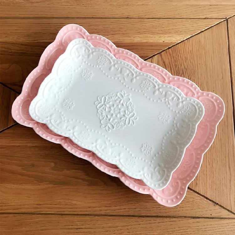 超豐國際歐式浮雕陶瓷長方形盤子蝴蝶餐盤菜盤下午茶水果