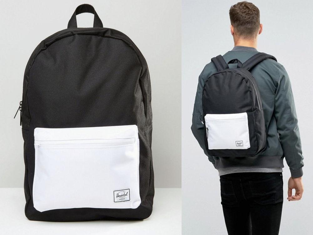 Hsin 85折現貨Herschel Settlement黑色白色防水拉鍊大容量手機筆電層帆布後背包