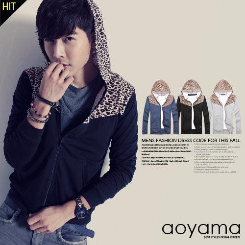 豹紋外套A3640創新設計秋季百搭豹紋拼接棉質連帽外套3色