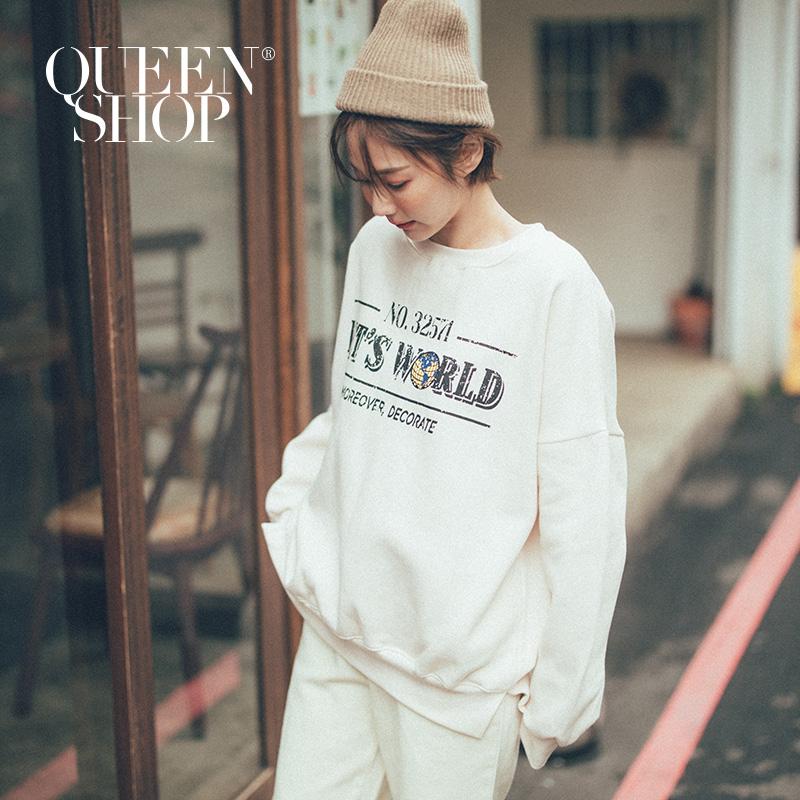 Queen Shop【01038210】仿舊地球字母內刷毛大學T *現+預*