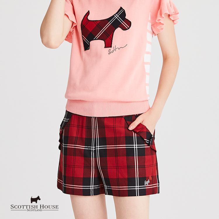 【紅黑格】格紋袋口褶子荷葉短褲 Scottish House【AH2203】