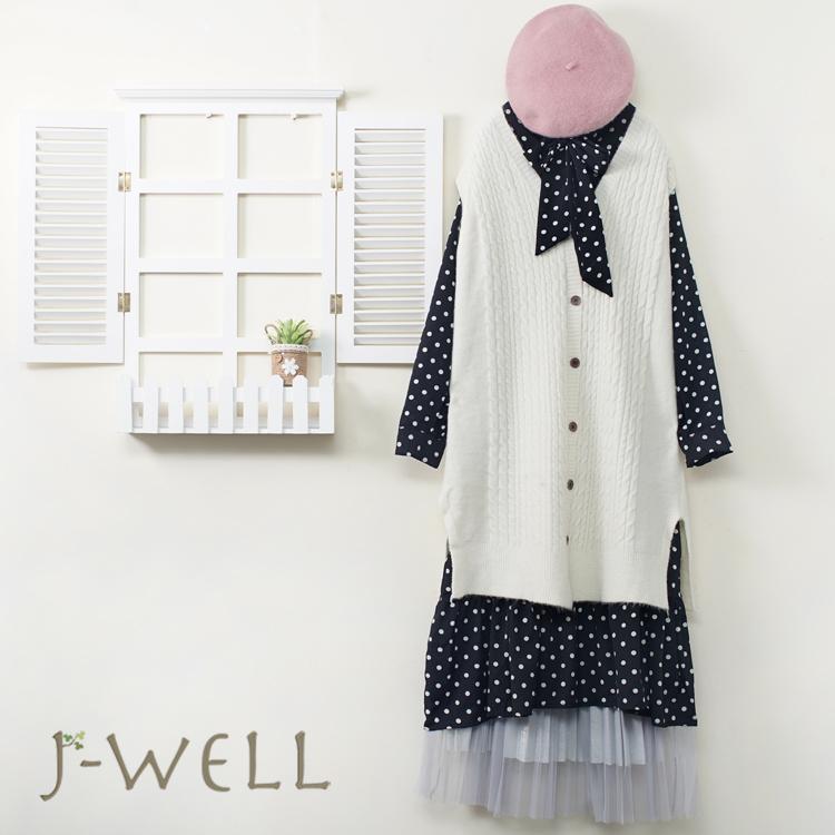 J-WELL 點點洋裝長版針織背心兩件式壓褶網紗裙二件組(組合A628 9J1095米白+8J1566灰)