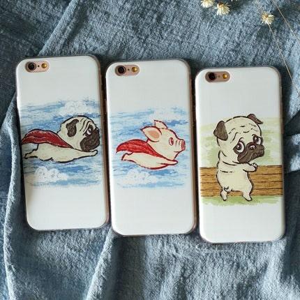 iPhone手機殼 飛天豬豬&超人狗狗 磨砂矽膠軟殼 蘋果iPhone7/iPhone6/iPhone5手機殼