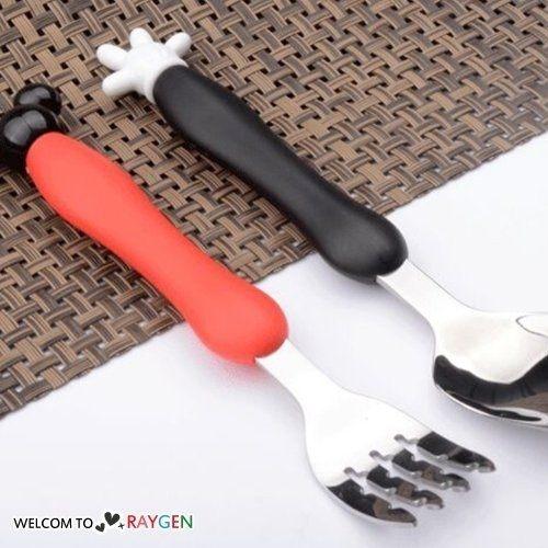 兒童餐具卡通造型不鏽鋼叉子湯匙二件組
