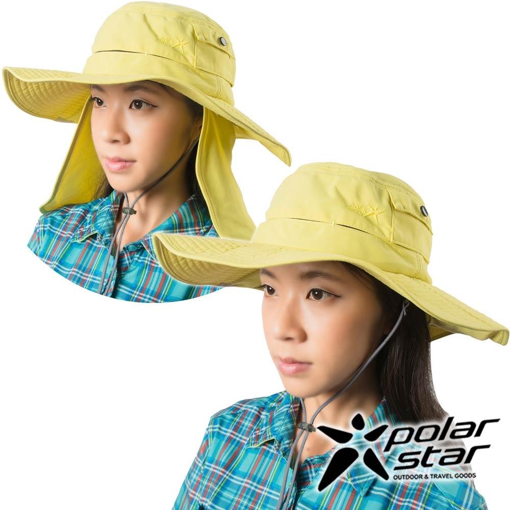 PolarStar抗UV圓盤遮頸帽黃P16504抗UV帽登山帽工作帽遮陽帽釣魚帽防曬帽圓盤帽