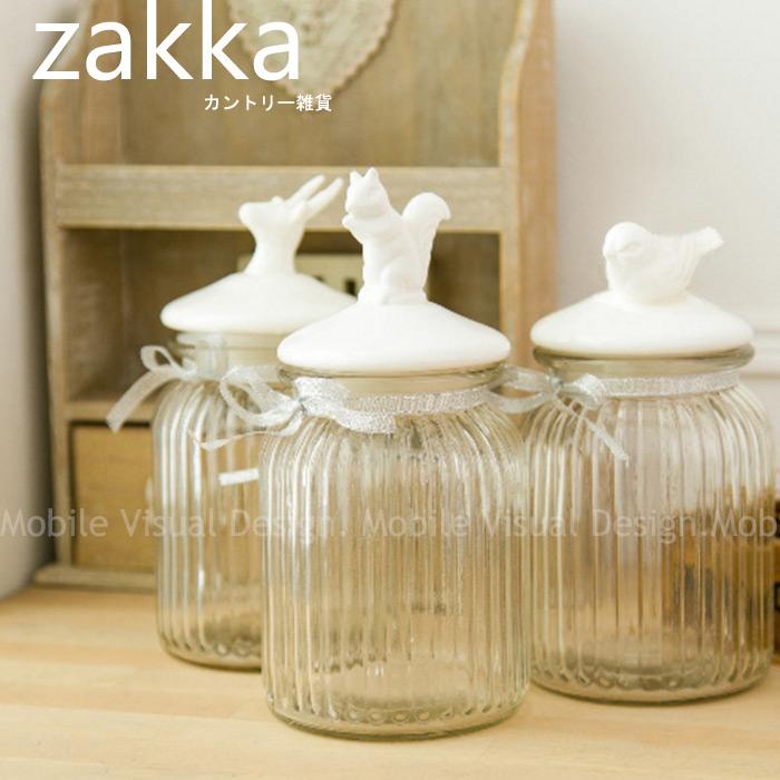 北歐風格zakka陶瓷玻璃密封罐大款松鼠小鳥麋鹿三款可選-儲物罐保存罐生活雜貨