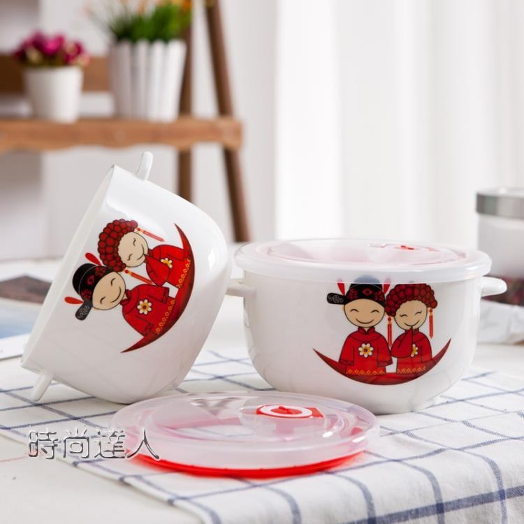 創意日式韓式卡通可愛陶瓷餐具泡麵碗陶瓷湯碗帶蓋泡麵杯-時尚達人