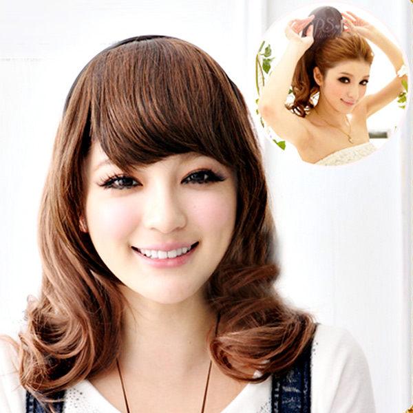 Qmishop VIVI推薦DIY半頂式髮箍可愛韓妞捲捲中長捲髮高溫髮絲可露額頭可電棒燙QP041
