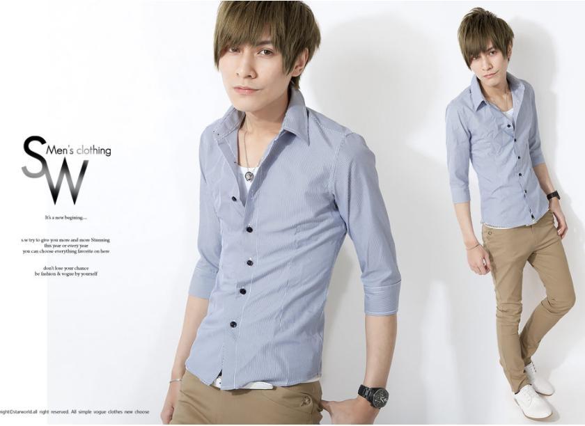 SW韓雅痞時裝窄身硬領白底灰細線藍灰細線條紋七分袖襯衫都會K61179