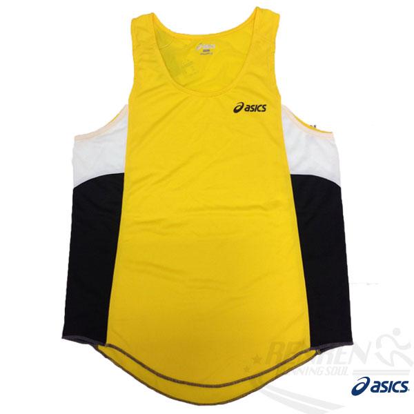 ASICS 亞瑟士 男慢跑田徑背心 (黃) 吸汗速乾 防紫外線 夜跑 路跑