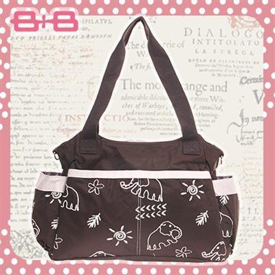 2用媽媽包-大象尿布墊保溫袋多功能側背手提媽咪包HAPPY B B E-B-95257-BB