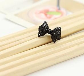 復古黑色鑲鑽蝴蝶結戒指 指環 可調節【B2007】