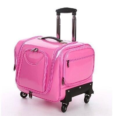 化妝箱拉桿專業美容美髮美甲紋繡工具箱多層萬向輪彩妝化妝師粉色PU