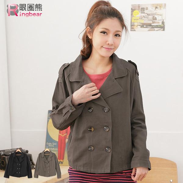 外套-完美的率性前衛傘狀雙排釦罩衫短版外套黑.灰M-XL-J164眼圈熊中大尺碼