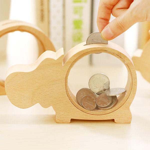00002木質透明可愛動物造型存錢筒創意送禮擺飾儲蓄撲滿大象鯨魚河馬小豬