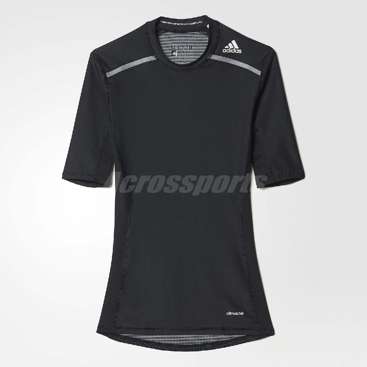 adidas T恤Techfit Chill黑銀TechFit運動短袖上衣男款PUMP306 AJ5705