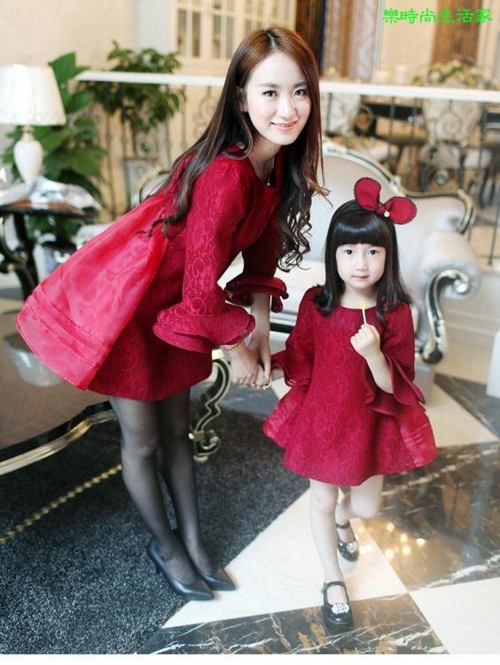 2017新款韓版公主服母女親子裝禮服條紋長袖洋裝連衣裙TR001