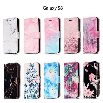 SZ14三星Galaxy s8 plus保護殼大理石皮套翻蓋插卡手機套s8皮套